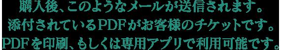 購入後、このようなメールが送信されます。添付されているPDFがお客様のチケットです。PDFを印刷、もしくは専用アプリで利用可能です。